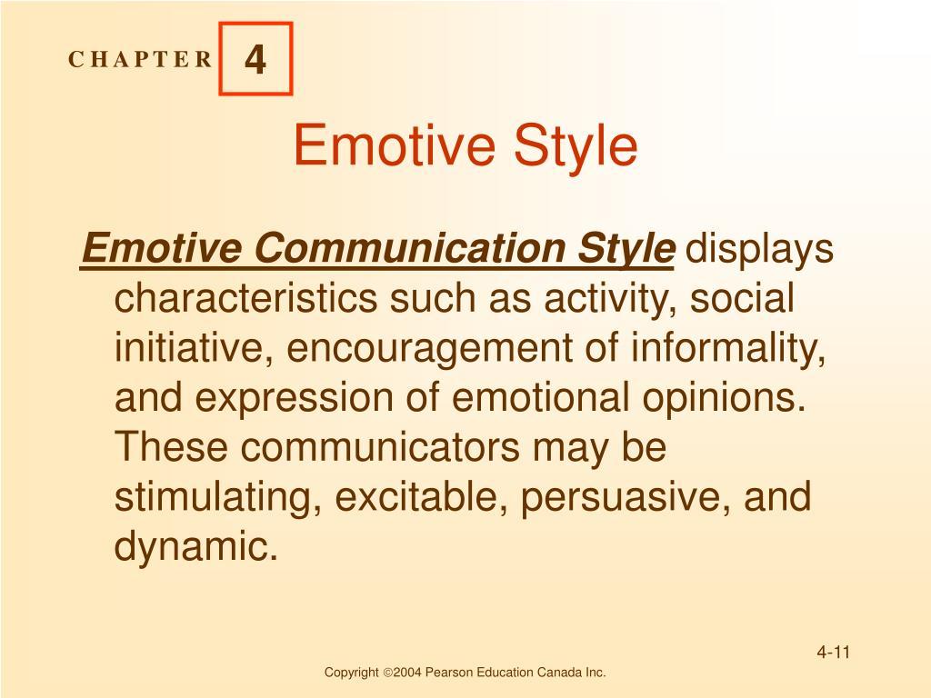 Emotive communication style