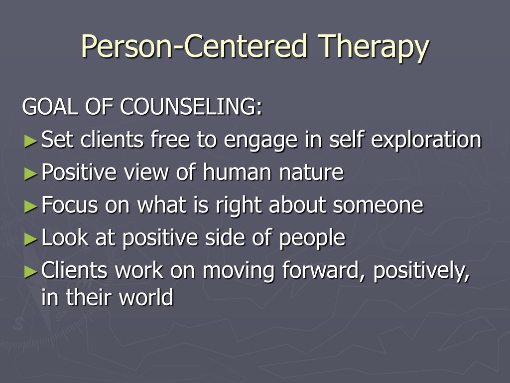 person centered Definition person-centered therapy, which is also known as client-centered, non-directive, or rogerian therapy, is an approach to counseling and psychotherapy that places much of the.