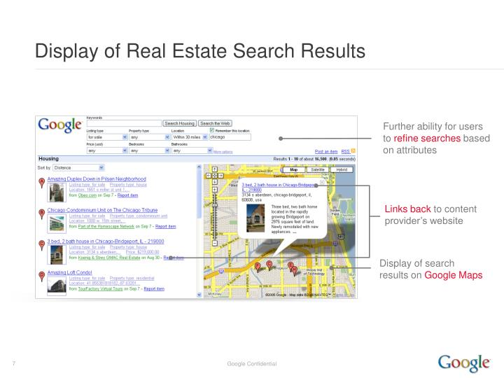 Display of Real Estate Search Results