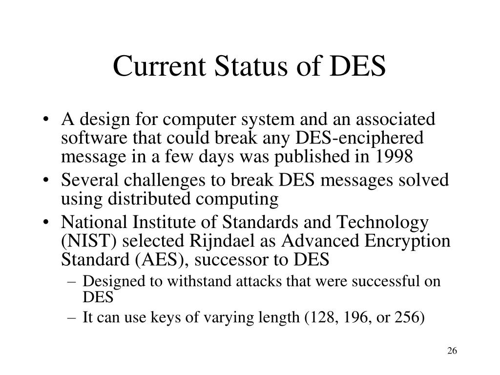 Current Status of DES