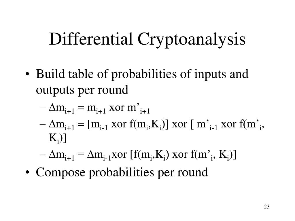 Differential Cryptoanalysis