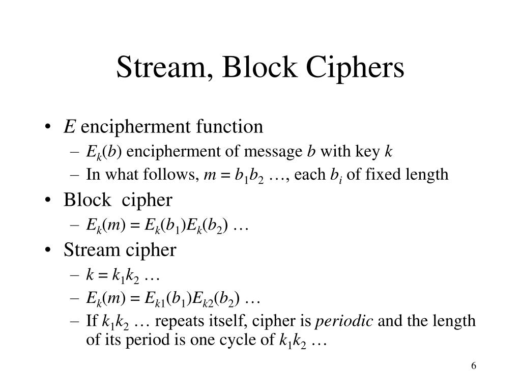 Stream, Block Ciphers