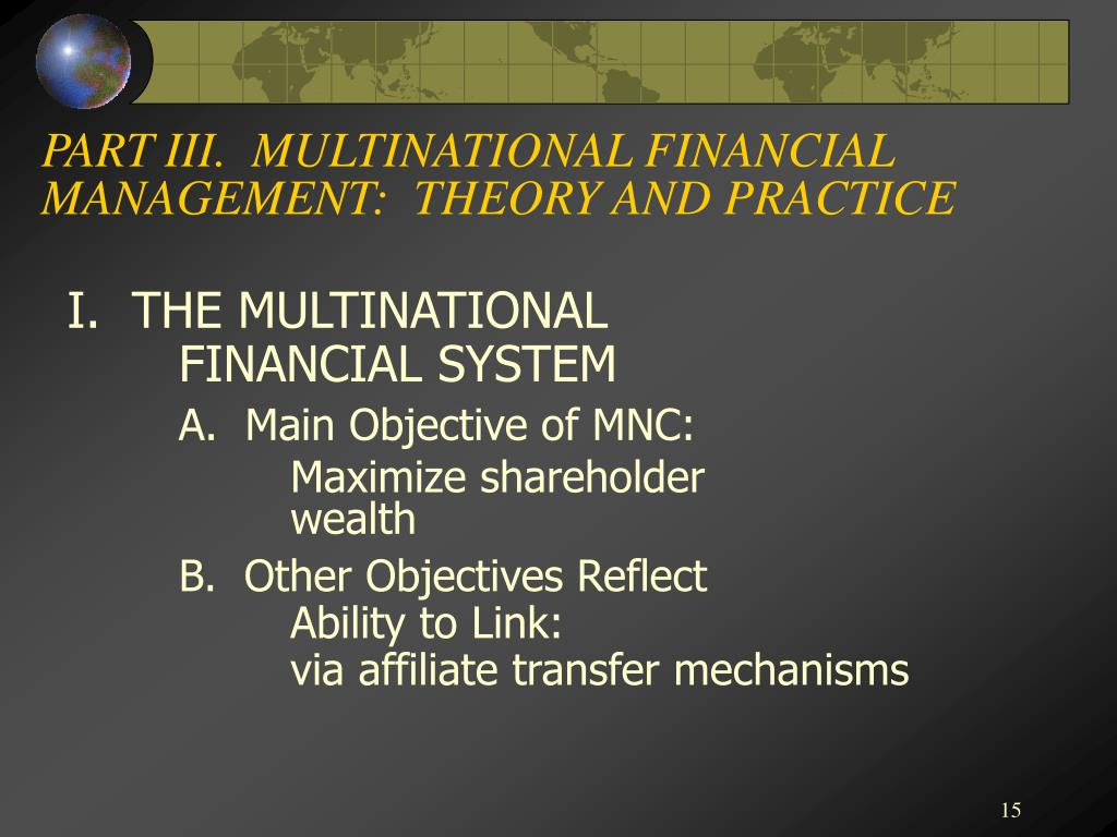 PART III.  MULTINATIONAL FINANCIAL MANAGEMENT:  THEORY AND PRACTICE
