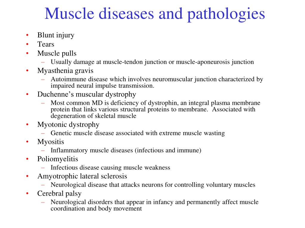 Muscle diseases and pathologies
