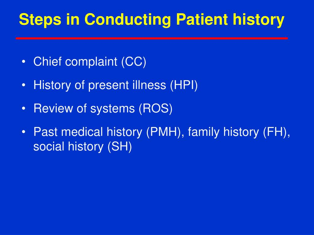 Steps in Conducting Patient history