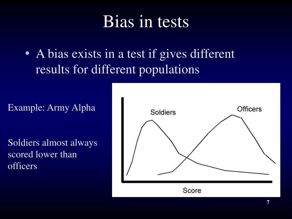 Bias in tests