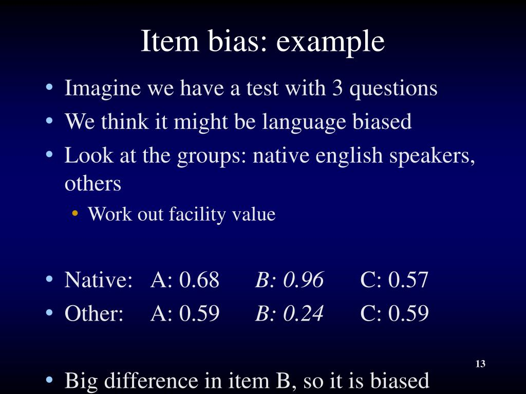Item bias: example