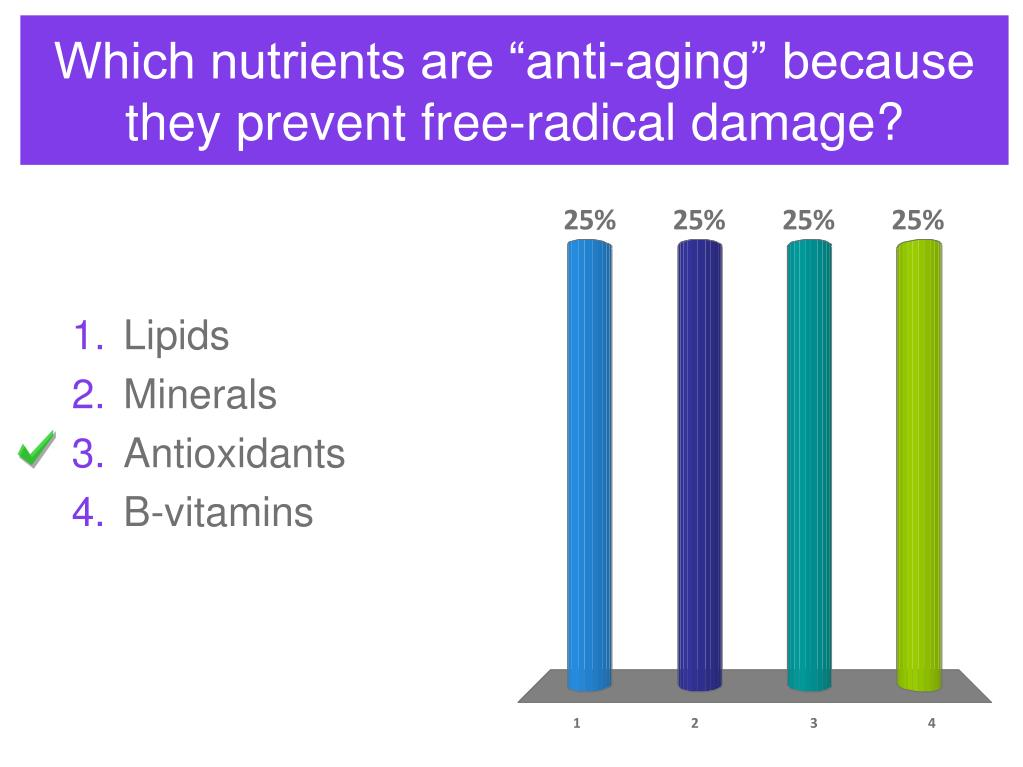 "Which nutrients are ""anti-aging"" because they prevent free-radical damage?"