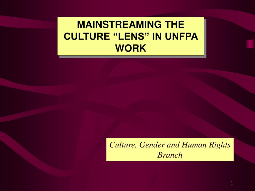 "MAINSTREAMING THE  CULTURE ""LENS"" IN UNFPA WORK"