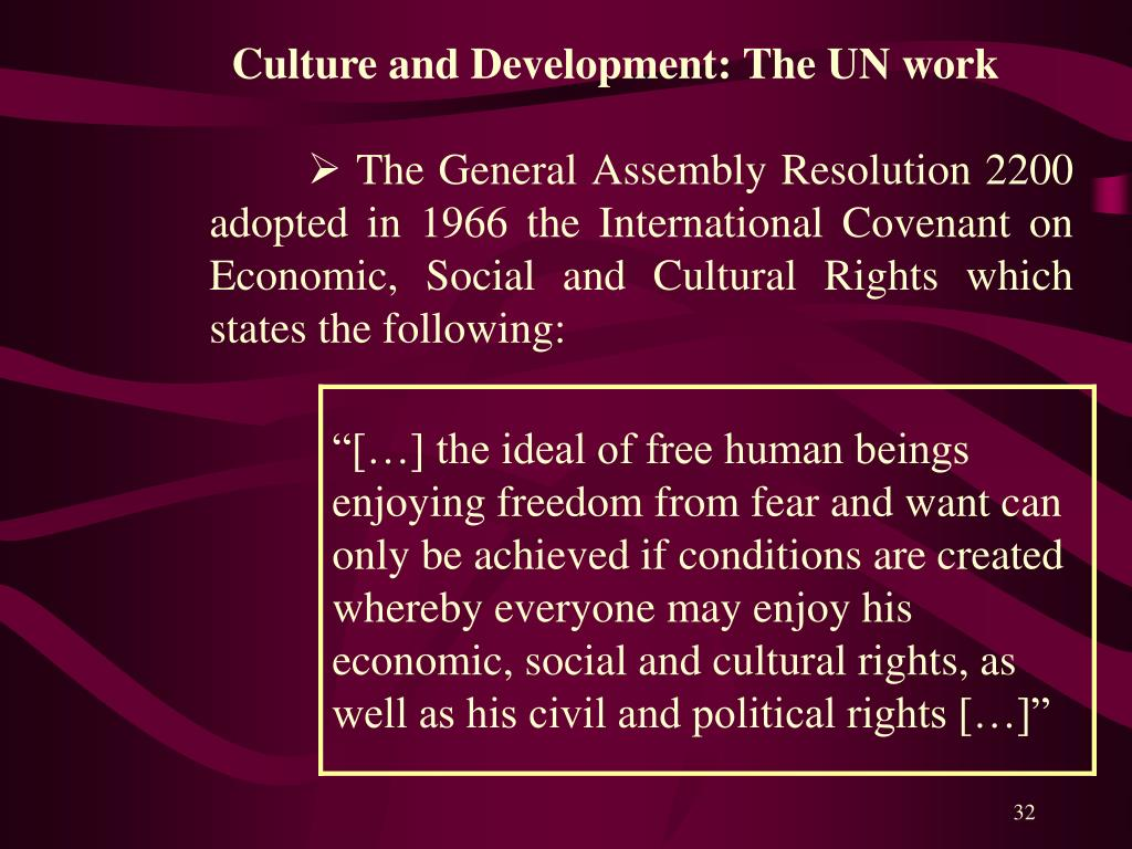 Culture and Development: The UN work