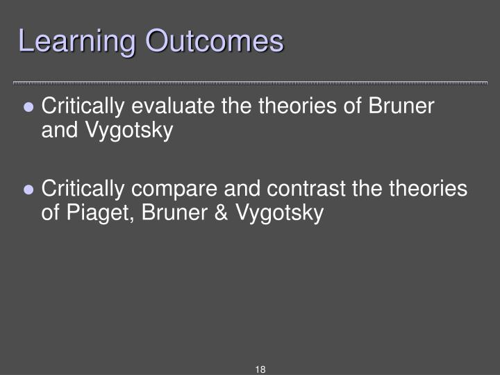 bruner vygotsky piaget compare and contrast Piaget and vygotsky theory compare and contrast two theories of cognitive   classic theories (piaget, bruner, vygotsky) on how children learn concepts piaget.