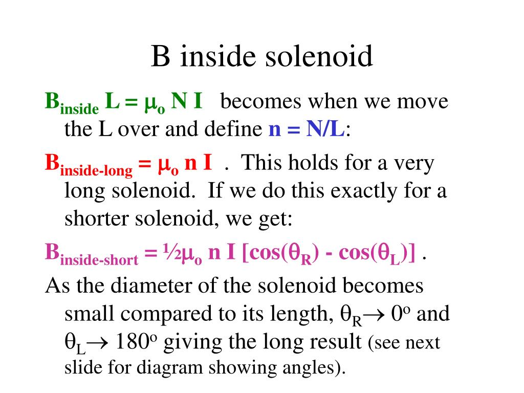 B inside solenoid
