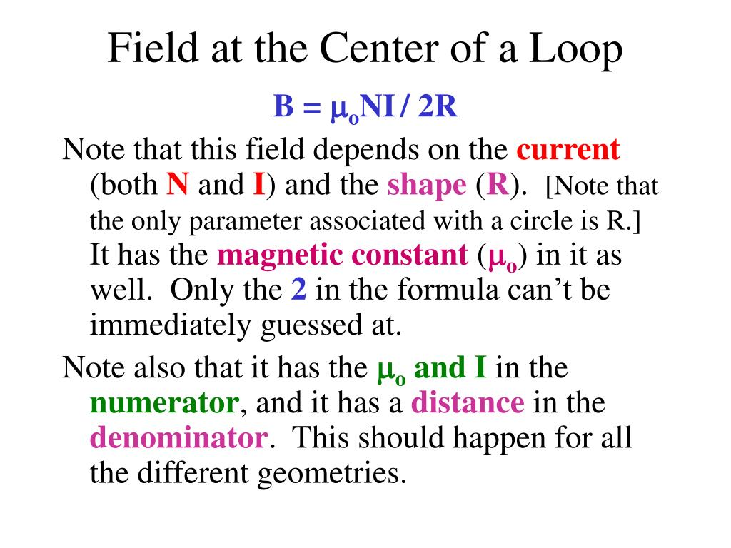 Field at the Center of a Loop