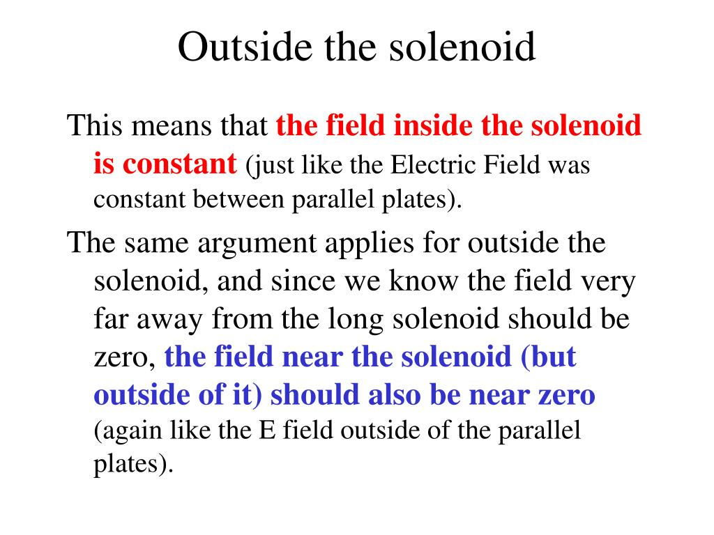 Outside the solenoid