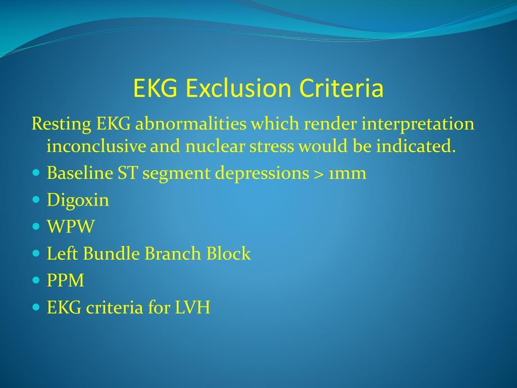 EKG Exclusion Criteria