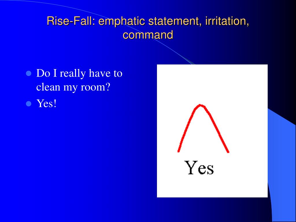 Rise-Fall: emphatic statement, irritation, command