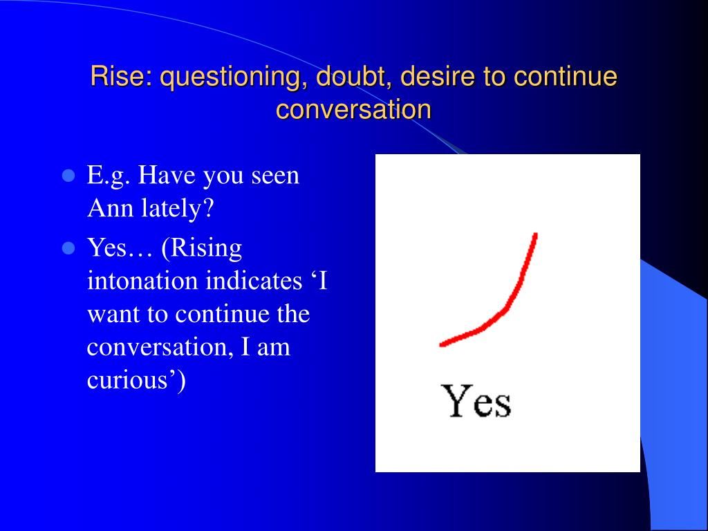 Rise: questioning, doubt, desire to continue conversation