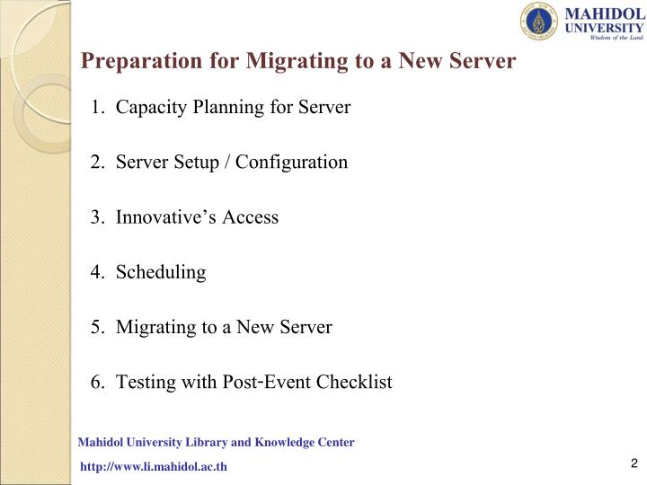 Preparation for Migrating to a New Server