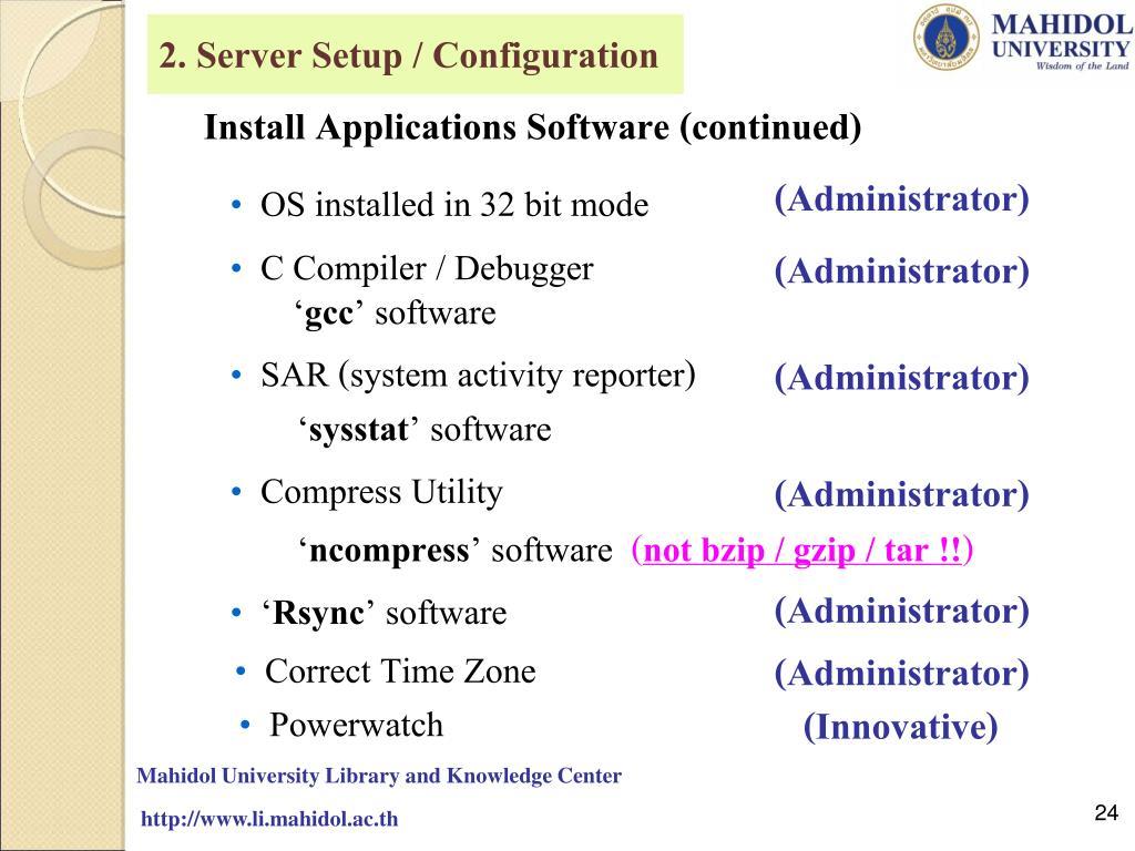 2. Server Setup / Configuration