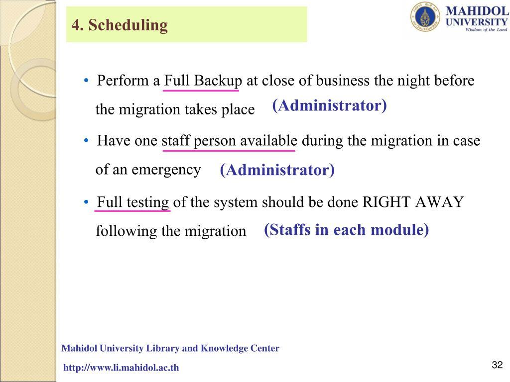 4. Scheduling