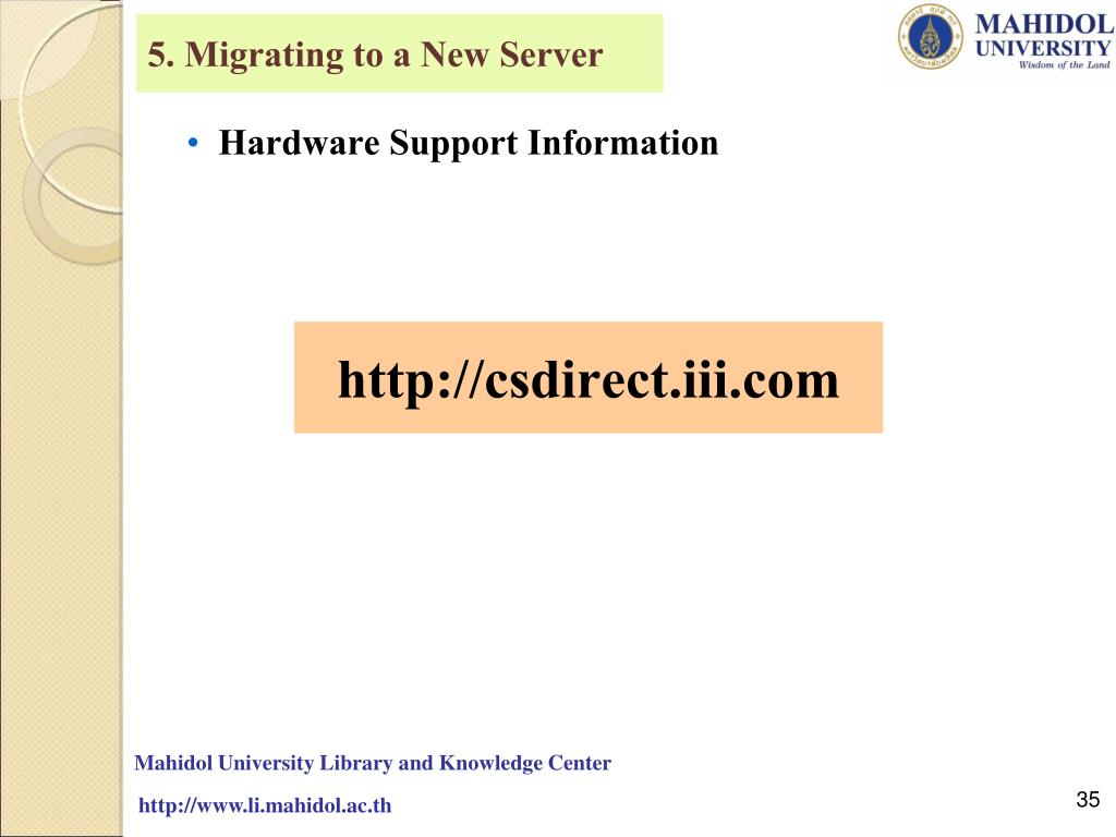 5. Migrating to a New Server