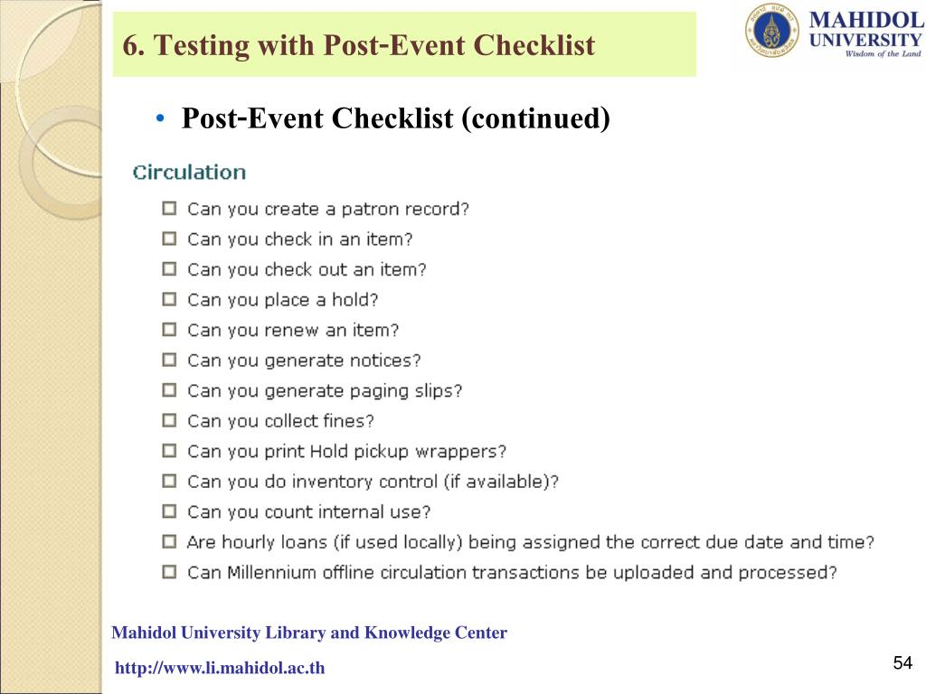 6. Testing with Post-Event Checklist