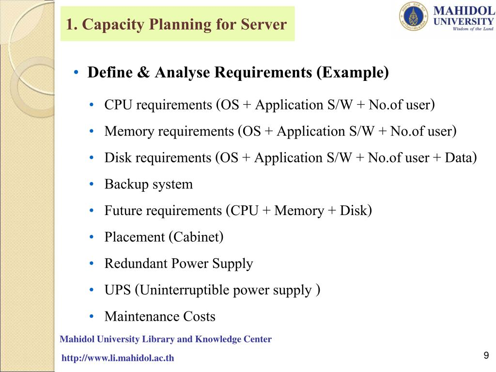 1. Capacity Planning for Server