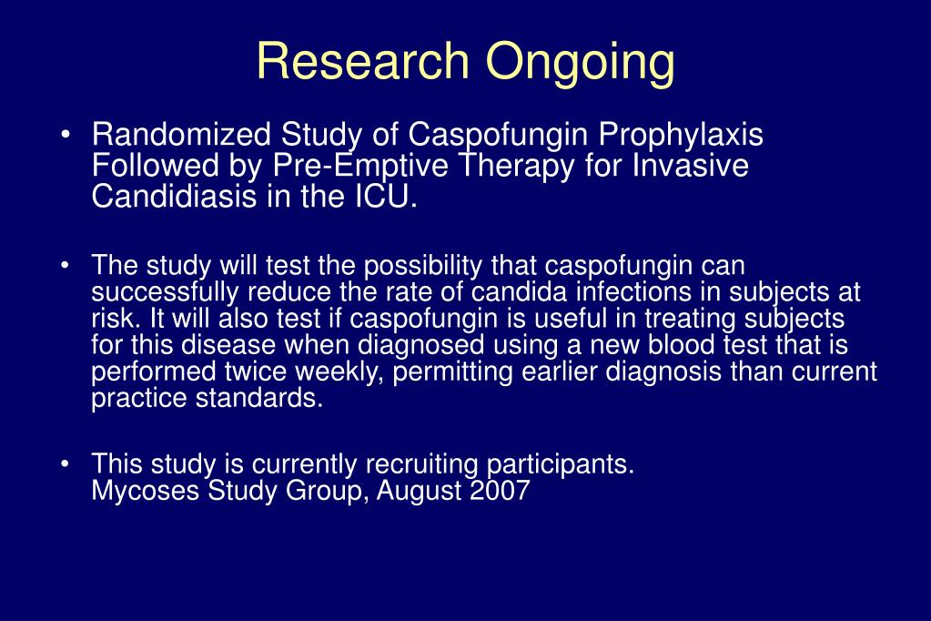 Randomized Study of Caspofungin Prophylaxis Followed by Pre-Emptive Therapy for Invasive Candidiasis in the ICU.