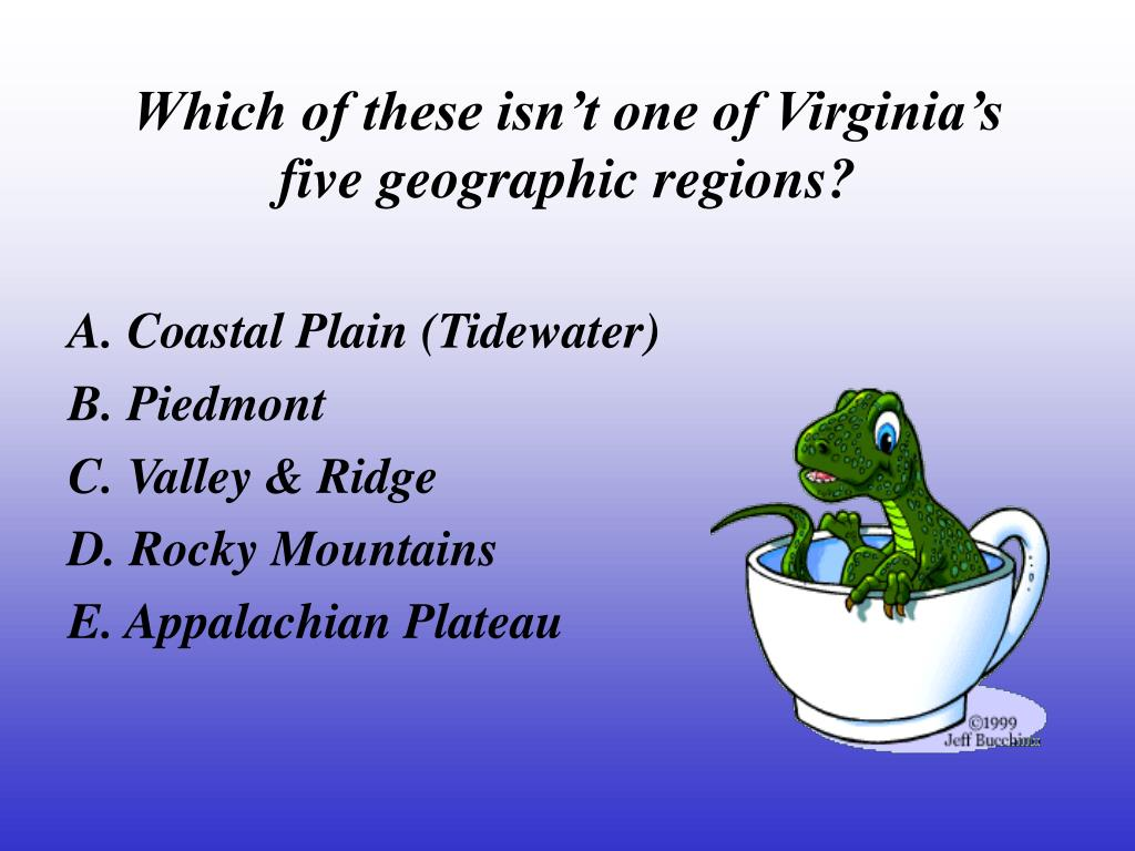 Which of these isn't one of Virginia's five geographic regions?