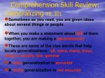 comprehension skill review generalizing te 301