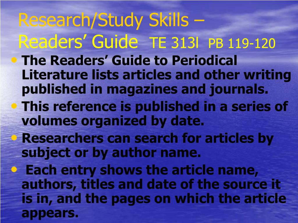 Research/Study Skills –