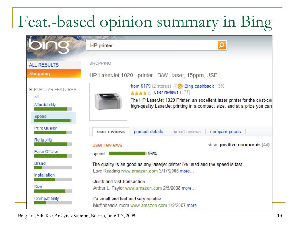Feat.-based opinion summary in Bing