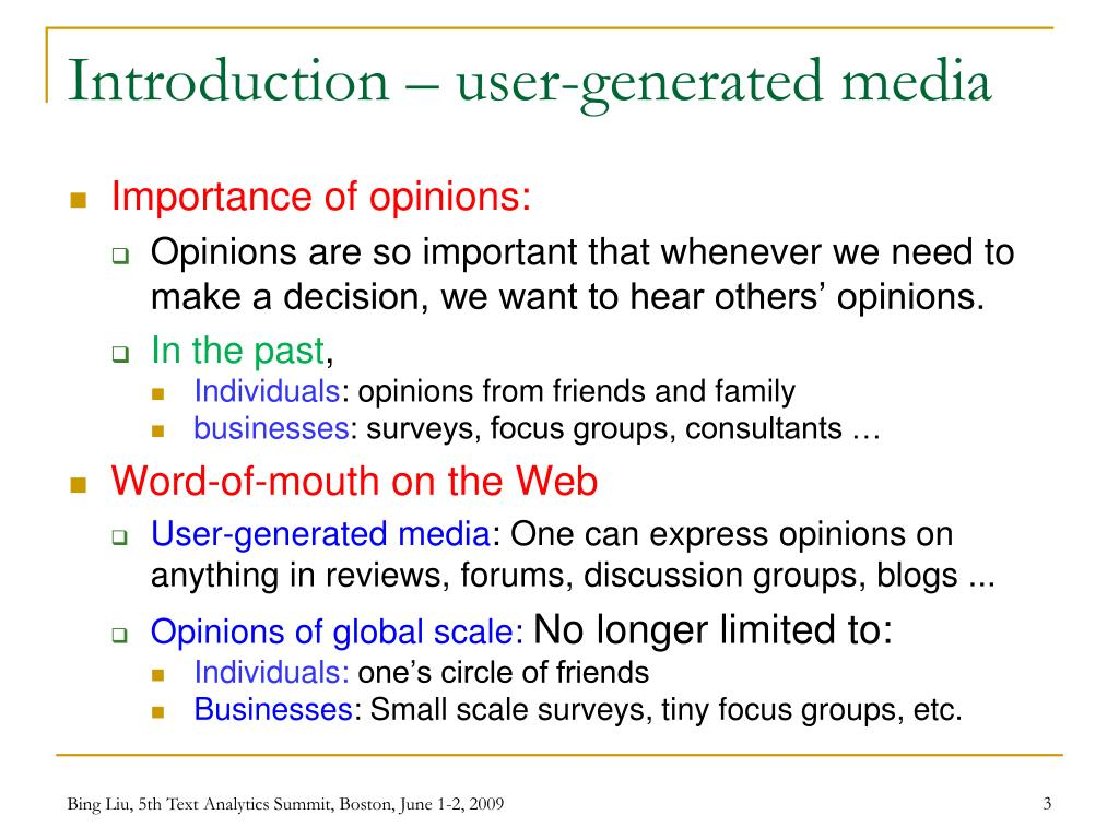 Introduction – user-generated media