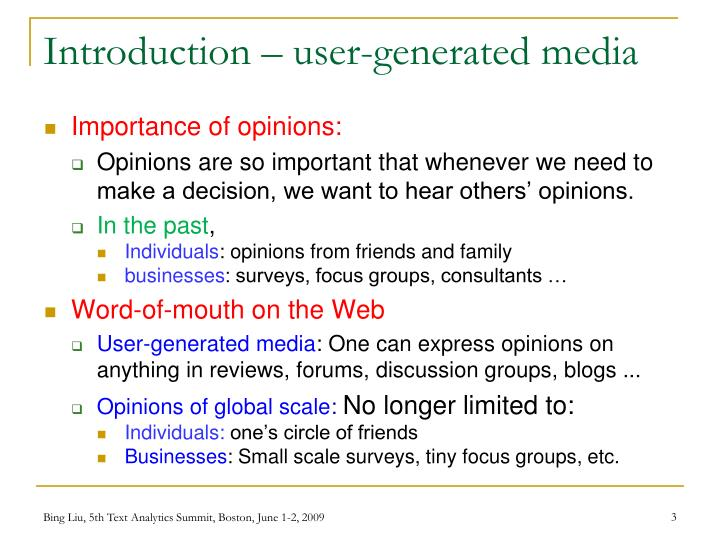 Introduction user generated media