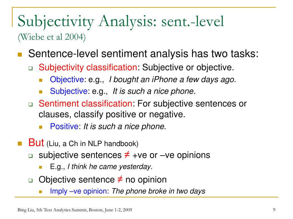 Subjectivity Analysis: