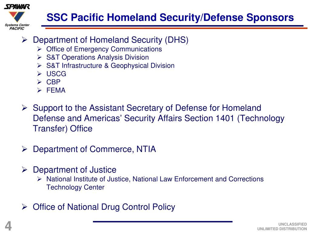 SSC Pacific Homeland Security/Defense Sponsors