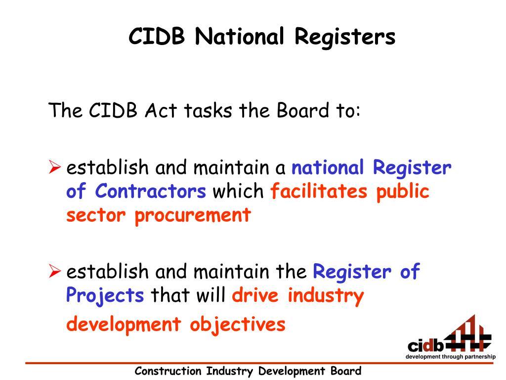 CIDB National Registers