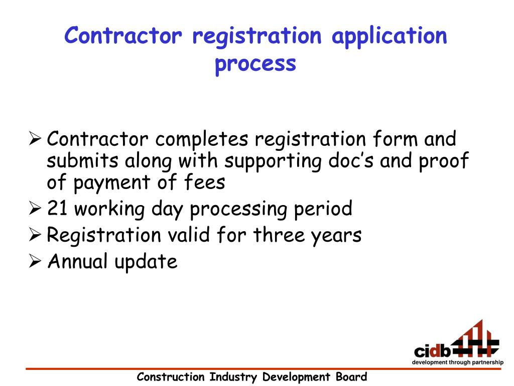 Contractor registration application process