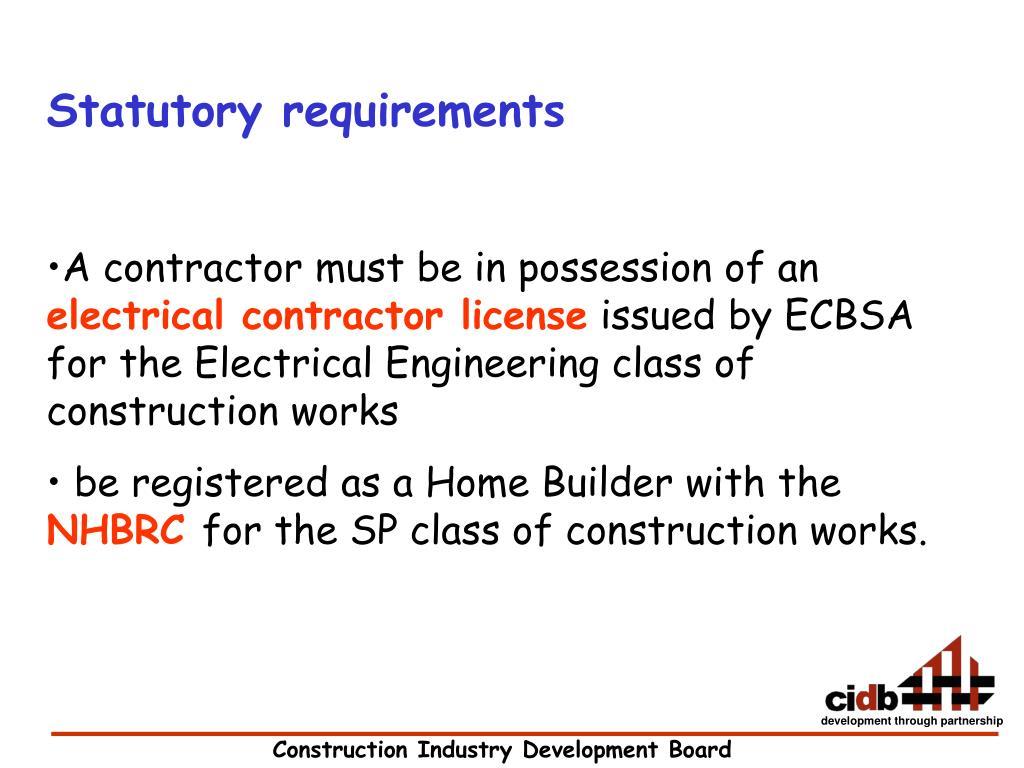 Statutory requirements