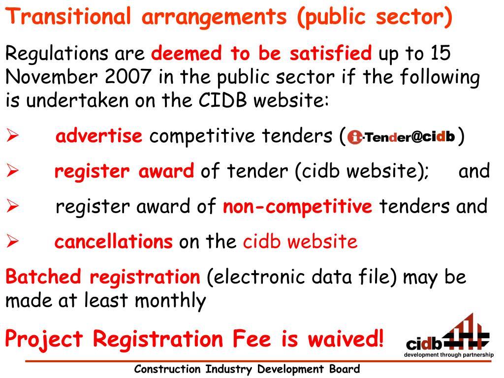 Transitional arrangements (public sector)
