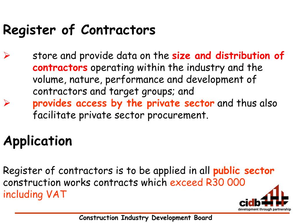Register of Contractors