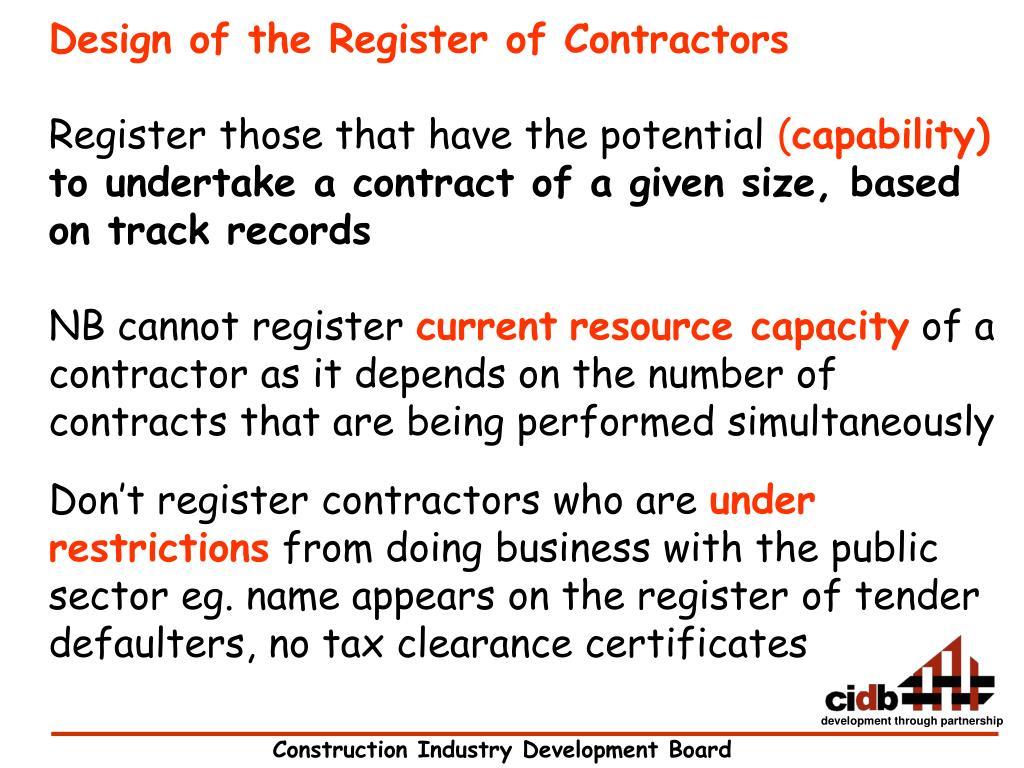 Design of the Register of Contractors