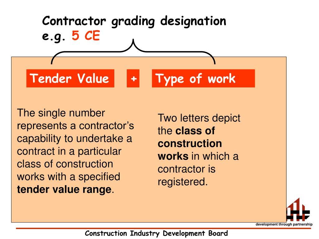 Contractor grading designation e.g.
