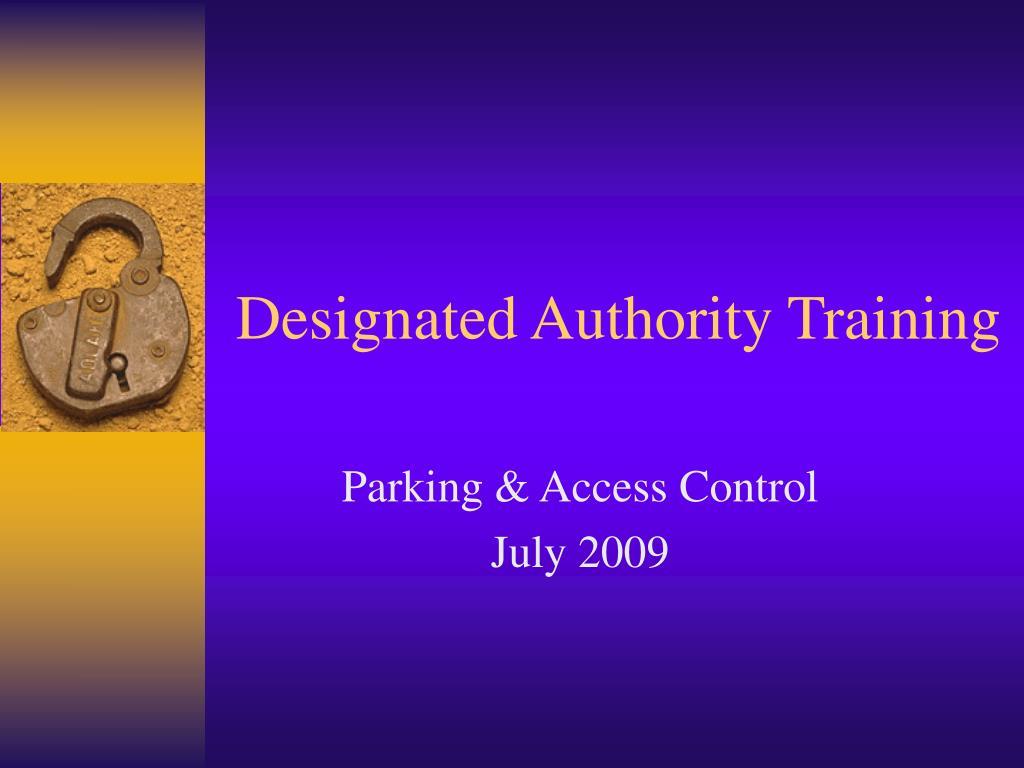 Designated Authority Training