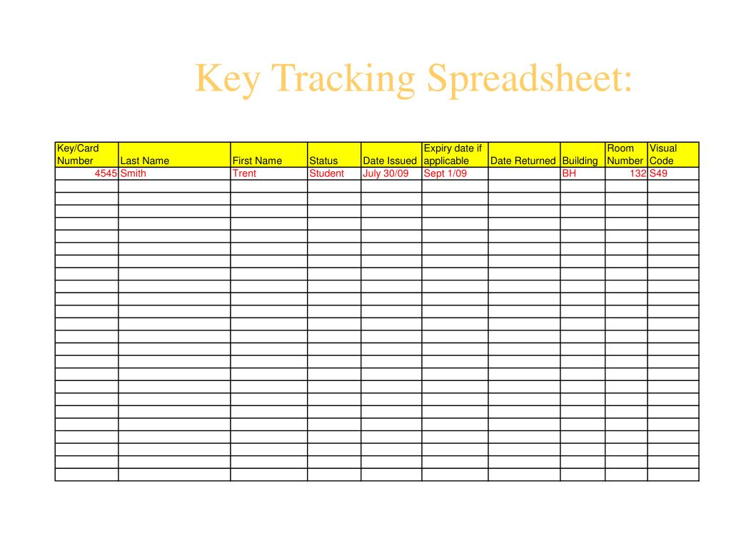 Key Tracking Spreadsheet: