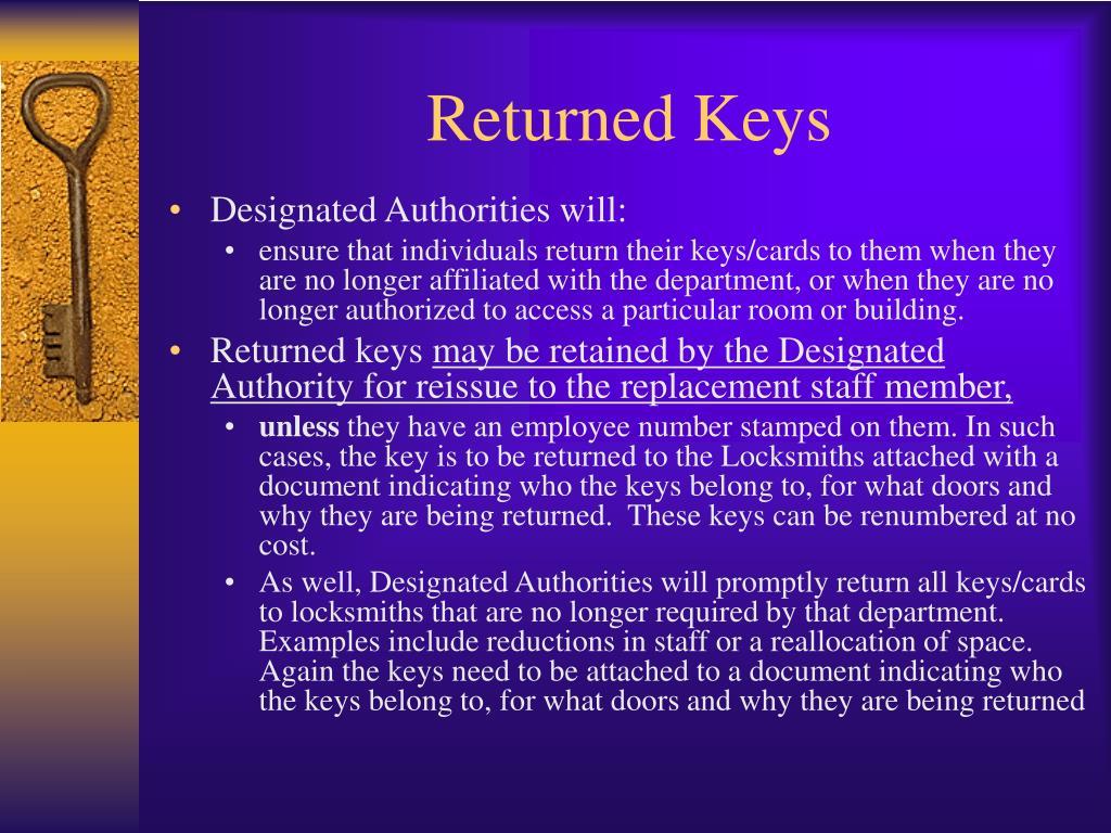 Returned Keys