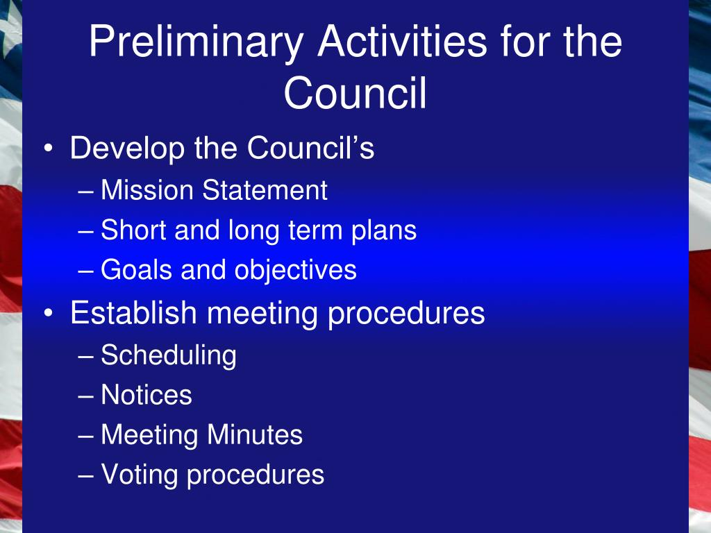 Preliminary Activities for the Council