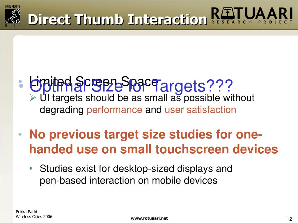 Direct Thumb Interaction