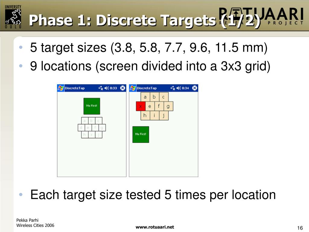 Phase 1: Discrete Targets (1/2)