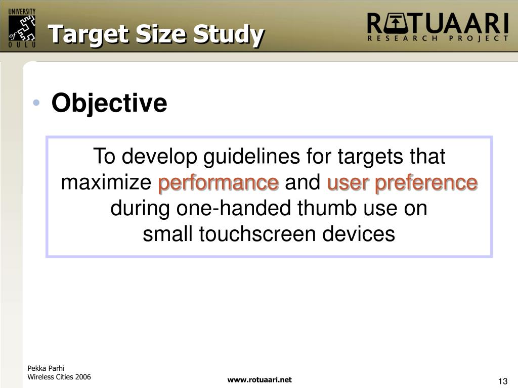 Target Size Study